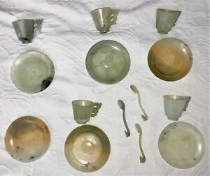 OLD CHINESE JADE 5 cups 6 saucers & 3 spoons