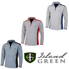 Island Green Mens Pullover Casual Thermal 1/2 Zip Two Tone Fleece IGTOP1739