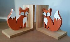 Pair of painted wooden fox book-ends, NEW, perfect Christmas gift