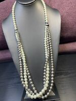 "Vintage Necklace White Grey Shades imitation pearl Long Beaded Statement 30"" ~"