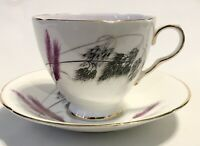 VINTAGE OLD ROYAL TEACUP & SAUCER BONE CHINA ENGLAND PURPLE BLACK WHEAT GOLD