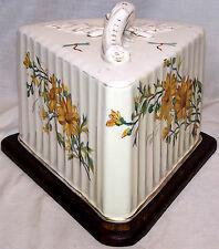 Lovely Covered Cheese Saver/Server Vintage  Shaped like a Cake Slice  RARE