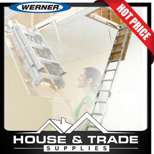 Werner Attic Ladder 2.3m to 3.1m Aluminium Folding Ladder AH2210AZ