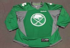 """CHAD RUHWEDEL BUFFALO SABRES """" ST. PATRICK'S DAY"""" PRE-GAME WORN JERSEY - COA"""