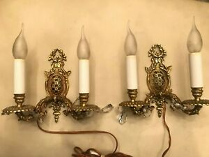 2 Antique French Brass Bronze Wall Lamps