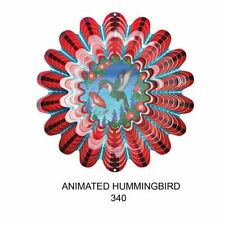 12 inch Sepia Animated  RED --HUMMINGBIRD metal Wind Spinner- Free Shipping
