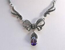 Feminine Silver, Marcasite & Amethyst CZ Bow Drop Necklace - Wedding?