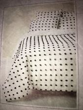 "anthropologie ""Tufted Makers"" King Quilt 104""x96"" White With Black Poms"