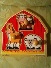 Melissa And Doug Barnyard Animals Jumbo Knob Puzzle 3 Pieces #2054 Ages 1+