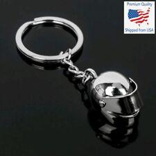 Chrome Silver Metal Helmet Motorcycle Bike Auto Racing Keychain Keyring Gift