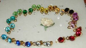 GOLD PLATED CLIP ON EARRINGS WITH 10MM FACETED RESIN RHINESTONES..16 COLOURS