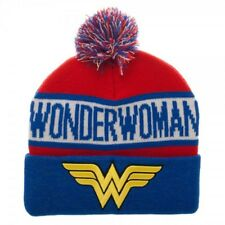 DC Wonder Woman Reflective Pom Beanie Winter Stocking Cap - Cuff