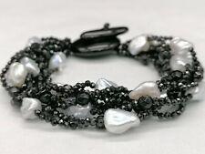 bracciale da donna spinelli neri autentici vere perle multifilo GIOIELLO ITALIAN