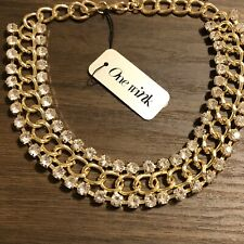 One Wink Jeweled Gold Tone Necklace Adjustable NWT