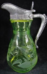 Antique Vaseline Glass Syrup Pitcher w/ Lid Quadrupleplate James Tufts Pairpoint