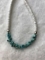 "#728 White 19"" Shell Heishi And Turquoise Necklace With Sterling Silver Clasps"