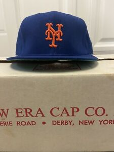 New Era New York Mets hat cap 7 3/8 Pro Model DuPont Visor Vintage 80's NY Rare