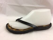 768bb695c298 DKNY Womens 6 Med Black Flip Flop Sandals Shoes Thongs Faux Leather Casual  Wedge