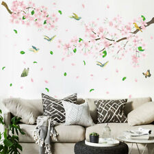 DIY Pink Sakura Tree Bird PVC Vinyl Removable Nursery Mural Decal Wall Sticker