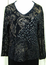 CHICO TRAVELERS Size 2 Black with Gold Design V-Neck Slinky Top