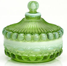 Green Opalescent Glass Eyewinker Pattern Round Covered Candy Dish