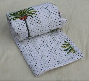 Vintage Handmade Palm Tree Kantha Quilt Bedspread Throw Queen Size Indian Decor