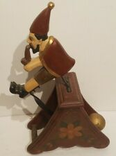 Vintage Balancing Toy Gnome With Pipe. Painted Wooden Stand. NR