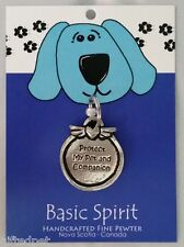Handcrafted Pewter Dog Collar Tag ~ Protect My Pet and Companion ~ Basic Spirit