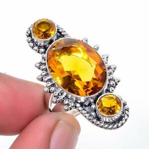 Aaa+++ Citrine 925 Sterling Silver Jewelry Ring s.7 S2637