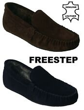 Mens Gents Suede Leather Faux Fur Lined Winter Slip On Loafers Moccasin Slippers