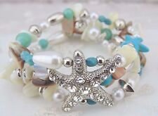 Starfish Stretch Bracelet Rhinestone Shell Bead Fashion Jewelry New Ocean Beach