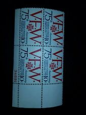 Scott 1525 US Stamp 1974 10c VFW 75th Anniversary Plate Block of 4 Mint - # 773