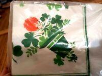 St Patrick's Day 1970's Vintage Paper Cocktail Napkin Shamrock Clover 20 Napkins