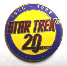 Star Trek 20th Anniversary Round Yellow Cloisonne Pin- FREE S&H (STPI-ANN-03Y)