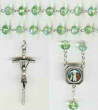 Saint Pope John XXIII Chartreuse Crystal Rosary - Bonus St. Anthony Relic Medal