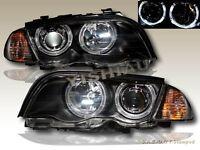 1999-2001 BMW 3 SERIES E46 4DR TWIN HALO HEADLIGHTS W/ CORNER LIGHT BLACK AMBER