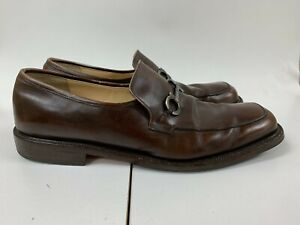 Salvatore Ferragamo Men's Brown Leather Gancini Loafers Dress Shoes Size 12