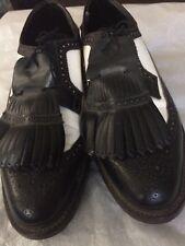 Vintage Golf Shoes Black And White Wingtip DuPont Corfam Men's Sz 10D Spikes