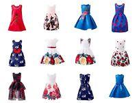 Girls Summer Dresses Floral Print Sleeveless Midi Dress Princess Bridesmaid Kids