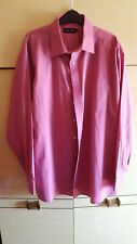"New DOUBLE TWO 18"" Dark Pink Long Sleeved Cotton Blend Business Shirt"