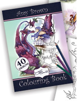 Amy Brown Colouring Book Fantasy Dragons Unicorns Fairy Girls Adult Art Therapy