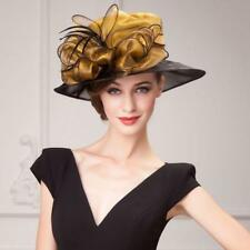 New Women's Kentucky Derby Church Wedding Noble Dress linen feather organza hat