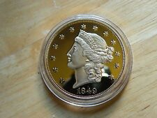 Fantasy Coin 1849 Gold Plated US Twenty D Dollars Proof Copy Liberty Head Lot