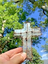 Vintage Handmade Clear Stained Glass Crucifix & Cross Window Wall Art ❤️sj4j2