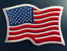 American Wavy Flag Embroidered Patch USA Biker Iron on