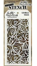 NEW! Scribbles Design Layering Stencil -Stampers Anonymous Tim Holtz Collection