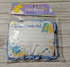 Birth record pillow Care Bears baby with felt pen new