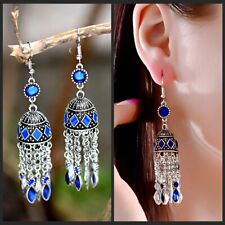 Bohemian Boho Style Classic Rhinestone Long Tassel Drop Dangle Women Earrings