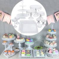 3/6/12Pcs Set Crystal White Metal Cake Holder Cupcake Stand Wedding Party Plates