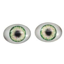 18x25mm Green Doll Oval Glass Eyes - Fantasy Dolls Art Pair with Whites Flatback